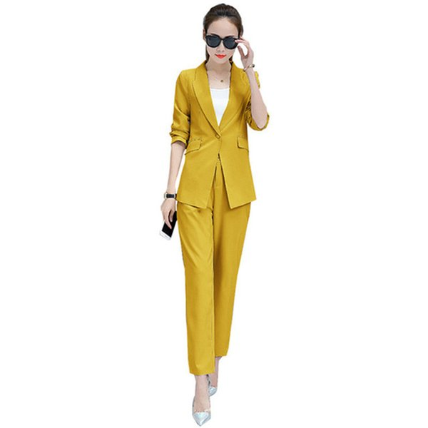 Customized new hot women's suit two-piece yellow casual fashion women's female office business formal suit