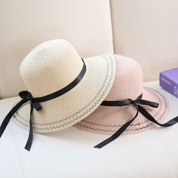 Fashion Wide Brimmed Visors Summer Beach Vietnam UV Hats For Women Foldable Straw Hat With A Bow Ladies Kentuky Derby Neck Protection Caps