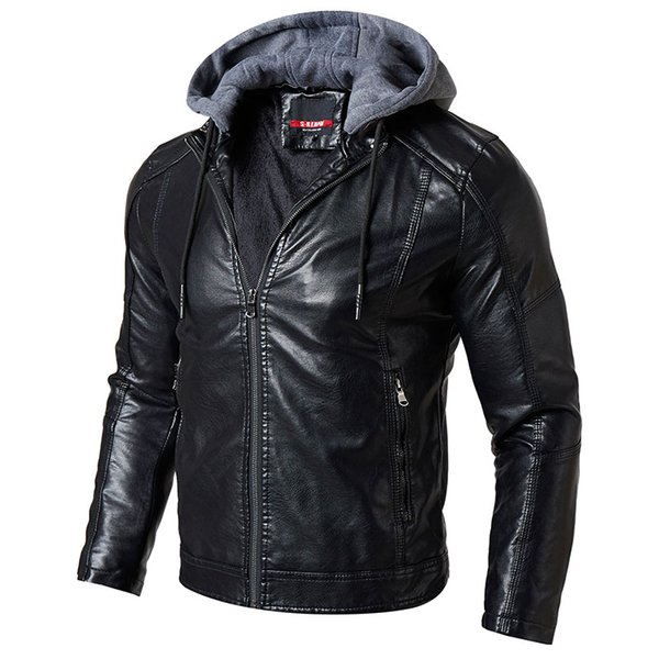 Winter Motorcycle Leather Jacket Men Casual Thick Warm Hooded Coat Male Pilot PU Faux Leather Jacket Jaqueta De Couro Masculino