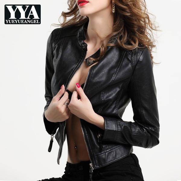 leather jacket women faux leather biker jacket suede autumn fashion moto black coat female slim zipper pu overcoat outwear