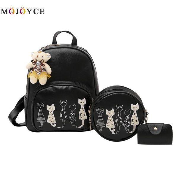 3pcs/set Women Backpack Cartoon Cat Print Pu Leather Backpack Set Teenage Girls Shoulder School Bagpack Mochilas Mujer