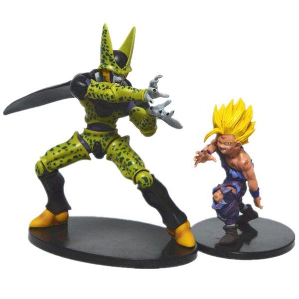 2Pcs /Lot Dragon Ball Z Action Figures Toys Gohan Vs Cell 2016New 21Cm /17Cm Dragon Ball Z Anime Collectibles Resurrection