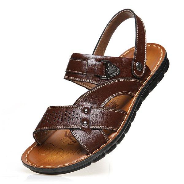 Couro Genuíno Dos Homens Grossos Sandálias Respirável Confortável Masculino Chinelos de Praia Ao Ar Livre Chinelos Casuais Sapatos Zapatos Hombre # 56733