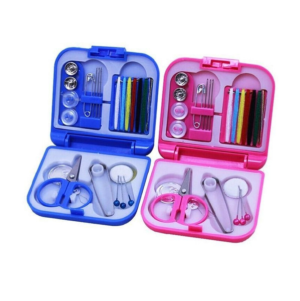 Hot Sale Portable Travel Sewing Set Kits Storage Box Needle Threads Scissor Thimble Buttons Pins Home Tools Sewing Accessories