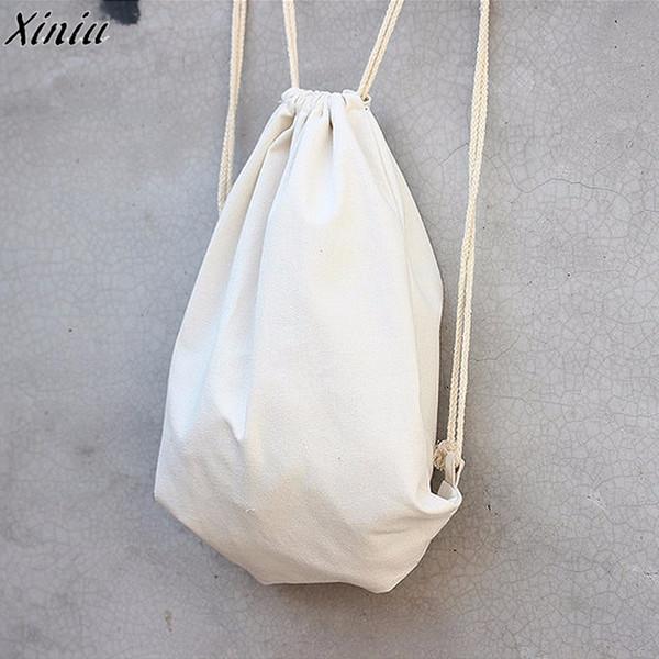Moda Mochilas das Mulheres Brancas Casual Viagem Softback Sólidos Feixe Porta Cordão Mochila Mochila Saco de Compras Saco de Viagem