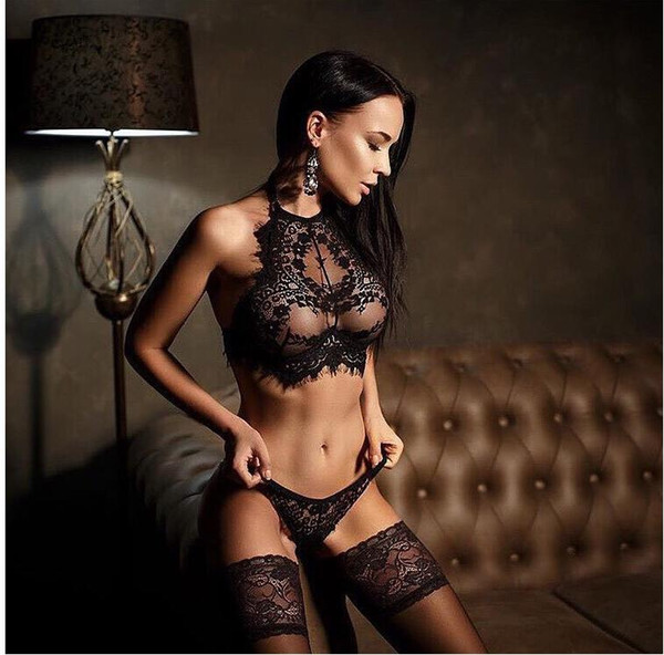best selling European and American sexy underwear eyelash lace three - point sex appeal set manufacturers wholesale spot