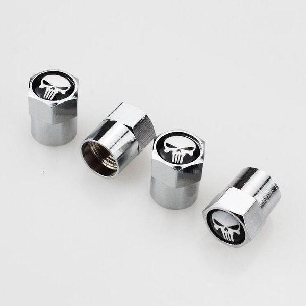 Punisher symbol skull head Crossbone skull head Fit for GMC Mini Metal Tire Valve Valves Tyre Dust Cap Caps MT Car Badge Emblem Badges