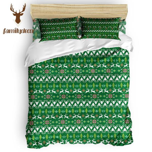 Decorazioni per la famiglia Verde cervo etnico Motivo natalizio Set di 4 copripiumini trapuntato Copripiumino trapuntato Bianco e nero Columbus Day moderno