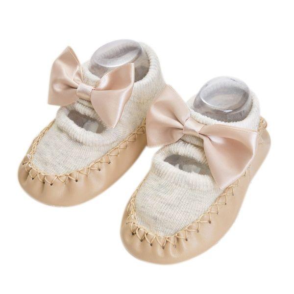 Bebê recém-nascido Meninos Meninas Infantil Sapatos de Algodão Meias Anti-Slip Chão Sapatos Meias Mais Quente Caminhada Interior Aprendizagem 0-18 M