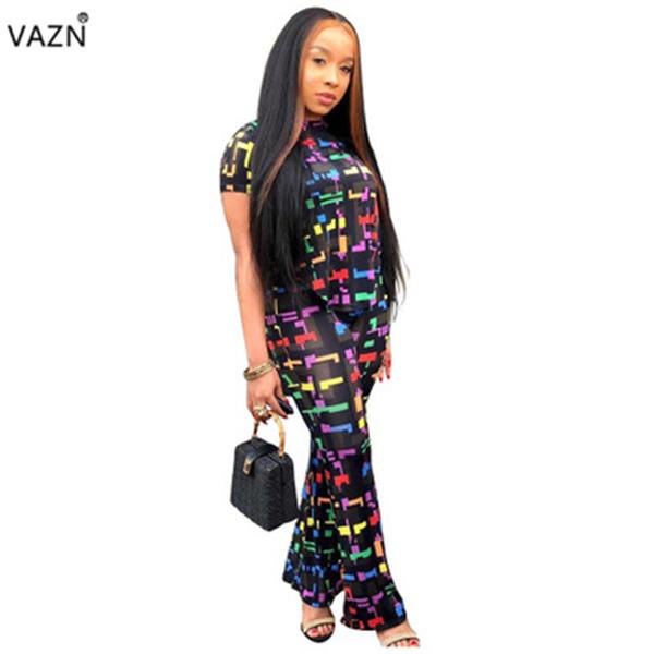 VAZN 2019 Yaz Yaşı Azaltma Yenilik Kadınlar 2 Parça Set Baskı Kısa Kollu O-Boyun Flare Tops Uzun Pantolon Tulumlar YNT7082 Tops