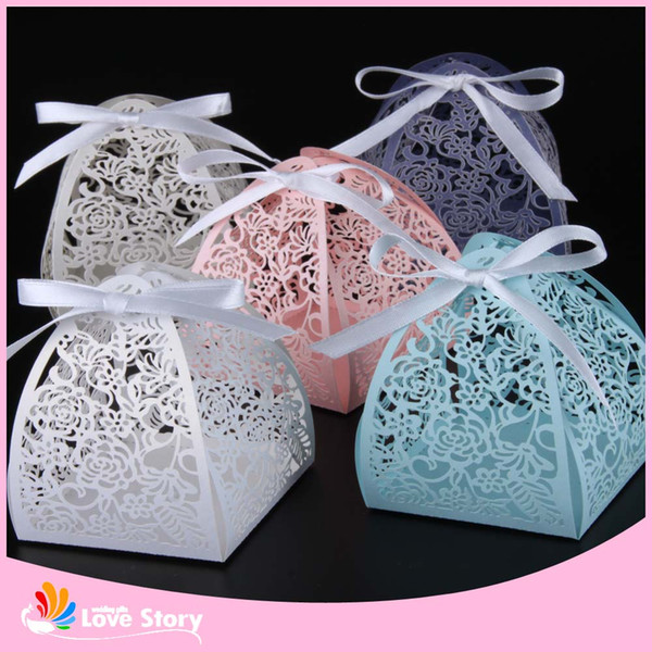 50pcs Rose flower Laser Cutting Candy Box Wedding Favors And Gifts Party Supplies Wedding Decorations Party Supplies