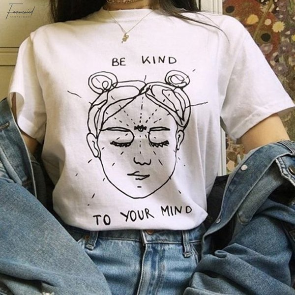 Sea amable con su camisa Camisas divertidas Mind Graphic T Mind Summer Manga corta Estética Grunge Tees Mujeres Tee Tops Ropa sólida