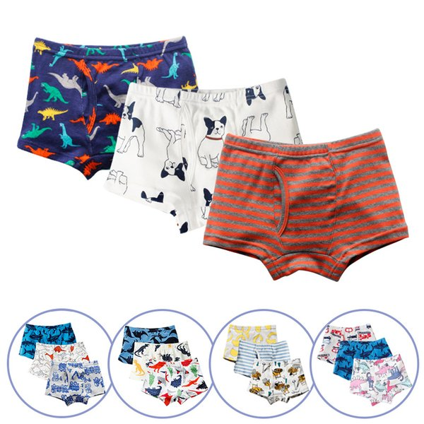 Children baby cotton cute underpants set Cartoon Boys Print soft Underwear colorful types home Teenage Briefs Boxer Shorts LJJQ264