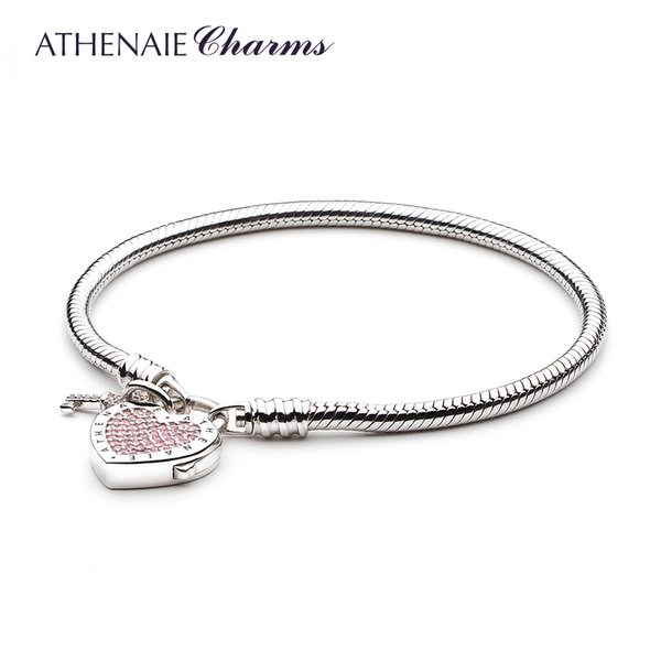 Athenaie 925 Sterling Silver Love Snake Chain Charms Bracelet & Bangle With Cz Lock Of Heart Clasp Fit Women Wedding J 190429