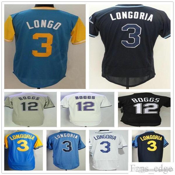 Wholesale Cheap Mens #3 Evan Longoria Jersey White Gray Light Blue Evan Longo Stitched #21 Wade Boggs Baseball Jerseys Mix Order
