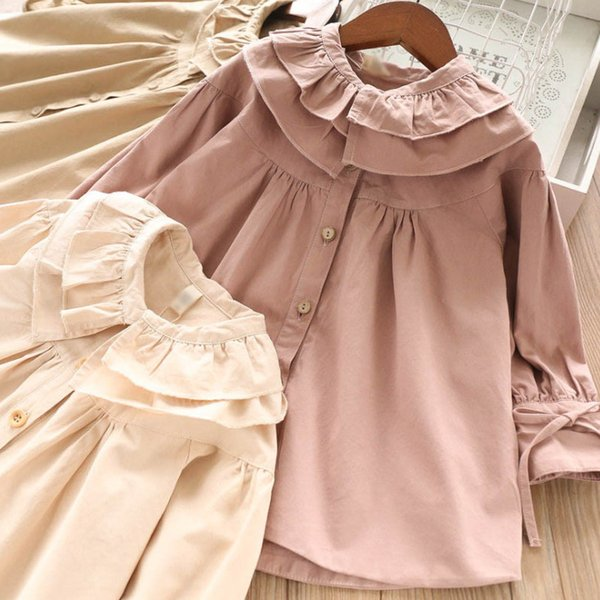 Girls trench coat 2019 fall new kids double falbala lapel princess outwear lady style children lace-up Bows flare sleeve long outwear F9170
