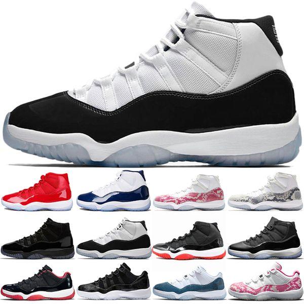 Hot 11 Pin de piel de serpiente 11s Concord Zapatos de baloncesto 45 Bred envío rojo para hombre Hombres Mujeres Space Jam gimnasio Entrenador Sport zapatillas de deporte gratuito