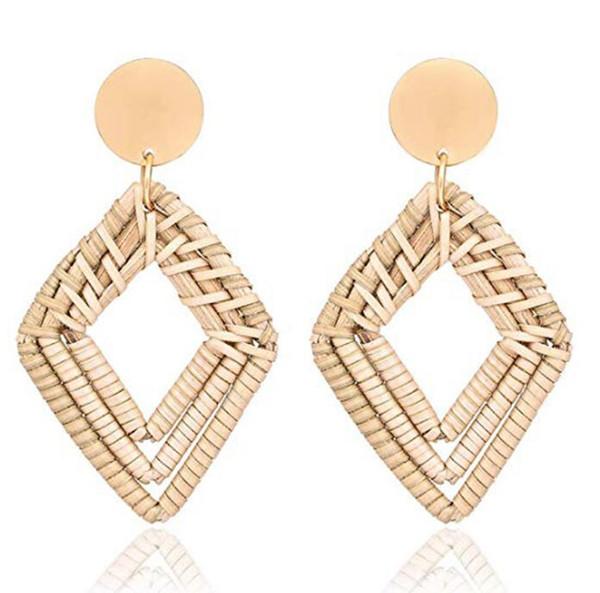 Woven Rattan Earrings Handmade Wicker Earrings Straw Knit Hoop Earrings Lightweight Raffia Braid Drop Dangle Earring for Women Girls