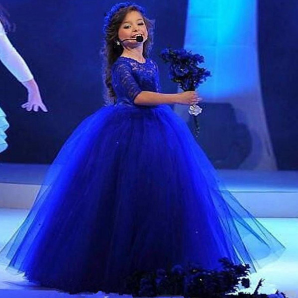 Royal Blue Lace Ball Gown Girls Pageant Gowns With Sleeves 2019 Cute Lovely Flower Girl Dress For Wedding Special Occasion Dress Toddler