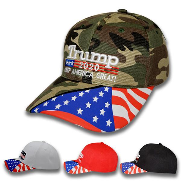 Cappello da baseball 4styles Donald Trump Star USA Bandiera Berretto mimetico Keep America Grande 2020 Cappello 3D da ricamo Lettera Snapback regolabile FFA2240