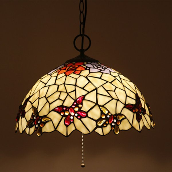 16 Inch Stained Glass Lamp Living Room Chandeliers Art Deco Butterfly Lamp Shades Chandelier Modern Indoor Lighting Restaurant Iluminacao Drop Ceiling