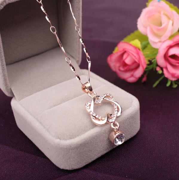 Collana con pendente a doppio cuore Collane a catena a più strati semplici Moda donna Collana di cristallo imitazione di gioielli di lusso