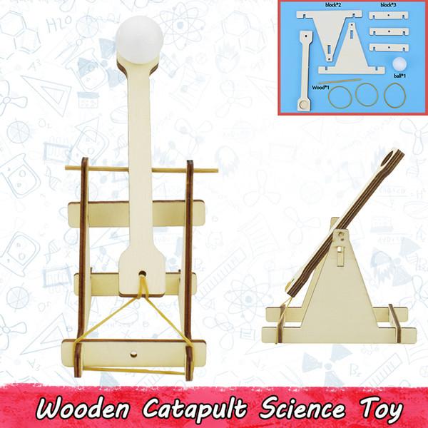 Catapulta de madera Kits de Modelo DIY para Niños Adolescentes Trebuchet Ciencia Física Experimento Educativo Bloques de Construcción de Juguetes Juegos de Fiesta