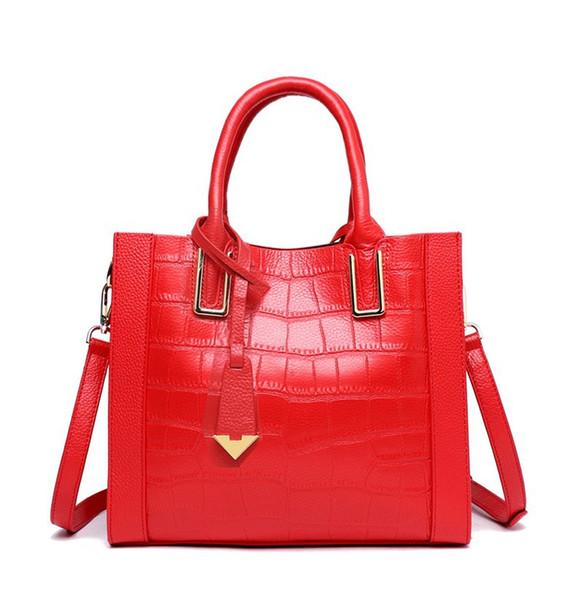 Genuine leather lady's bag, lady's shoulder bag, Five colors,checked pattern, shoulder strap 120CM, we transport free of charge.