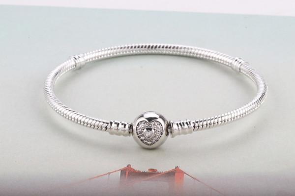 Thread Heart-Shaped Diamond Buckle Hand-Made Snake Bone Bangle DIY Female Jewelry Can Be Worn With Silver Beads