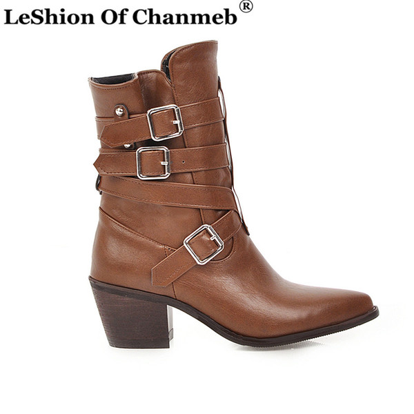 Cross Strap Street Punk Buckled Western Boots Woman Bigger Size 48 Pointed Toe Block Heels PU Leather Combat Boots Autumn Winter