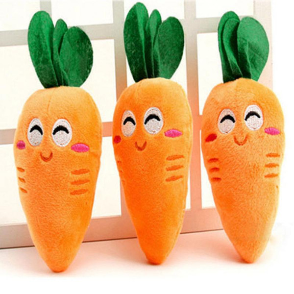 top popular Carrot Plush Chew Squeaker Toy Vegetables Shape Pet Toys Puppy Dog Carrot Plush Chew Squeaker Toys 2021
