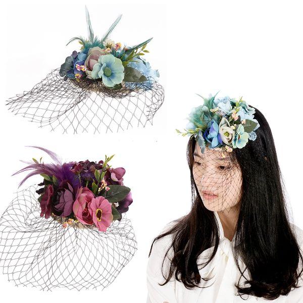 Women Girls Vintage Feather Mesh Hair Accessories Flowers Hairpins Birthday Party Headwear Beach Jewelry Hair Barrettes