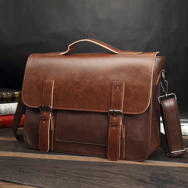 old planted business leather briefcase cowboy men bag shoulder Messenger handmade original leather bags British postman package #614897