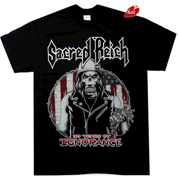 2018 Streetwear Short SleSacred Reich 30 años de camisa de ignorancia S M L XL Camiseta oficial Thrash Metal Venta de ropa informal