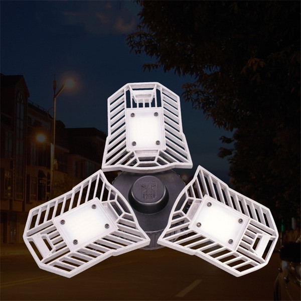 Radar Sensor Included 60W 80W E27 Deformable led Warehouse light Fan-shaped Garage Ceiling Light for Garage/Basement/Workshop/Barn