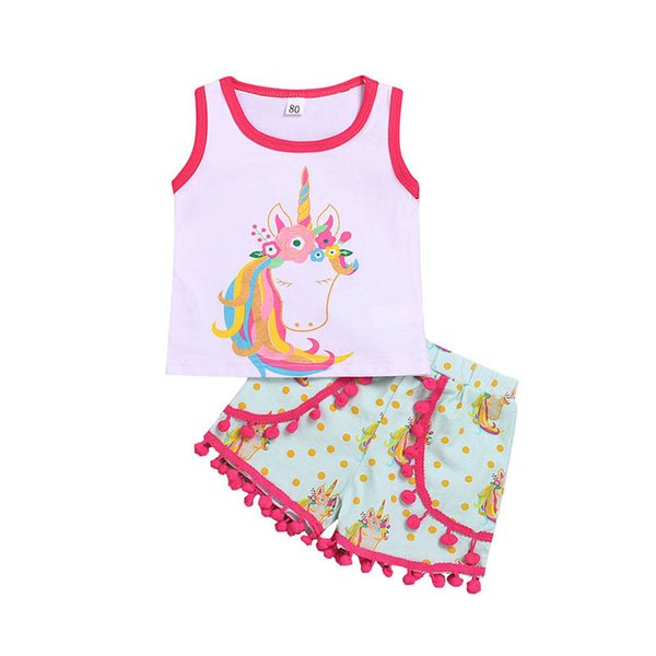 new Ins Summer Unicorn Baby Suit Infant Outfits baby girl clothes Girl Suit Vest+tassels Shorts baby girl designer clothes A5255