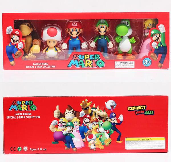 3-5 cm Super Mario Bros Peach PrincessDaisy Sapo Mario Luigi Yoshi Kong PVC Figura de Ação Brinquedos Bonecas 6 pçs / set Novo em caixa