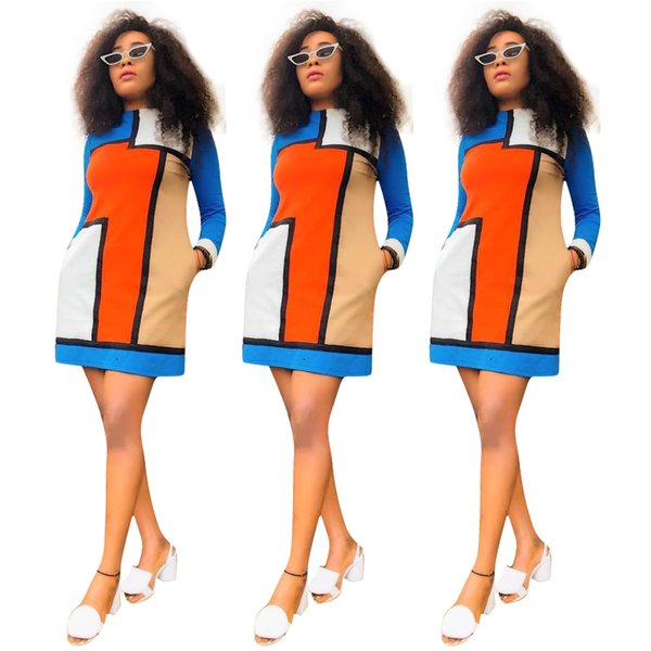 Multicolorred Plaid Panelled Women Casual Dresses Long Sleeves Crew Neck Pocket Leisure Short Dress OL Dress 2019 Hot Sale Real Image