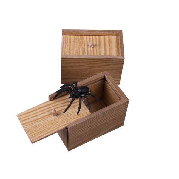 Aranha Artificial Madeira Surprise Scare Box Joke Prank Caso engraçado Horror truque Toy