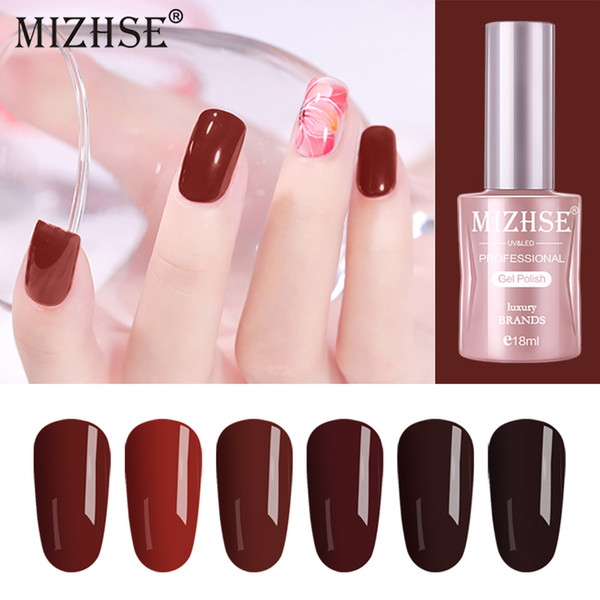 Mizhse 18ml Wine Red Color Series Nail Polish Need Uv Gel Led Lamp Manicure Lacquer Stamping Nagellak Gelpolish Paint Gellak Kids Nail Polish La