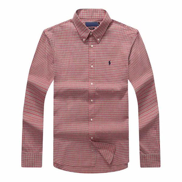 Cccc xadrez envio camisa dos homens de mangas compridas de algodão camisa dos homens polo azul marinho camisas oxford business casual camisa pequena cavalo roupas s-xxxl