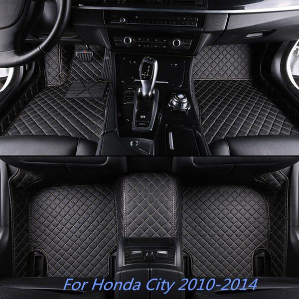 Para Honda City 2010-2014 7 Cores de Luxo À Prova D 'Água Apto Para Todos Os Tempo Não-slip Homem-Fato Dianteiro Traseiro Liner Esteira Do Carro de Couro