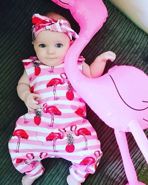 Cute Baby Romper Flamingo Printed Kids Clothes Summer Newborn Baby Girl Rompers Jumpsuit Cotton Sleeveless Baby Onesie One Piece Outfits