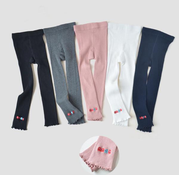 2019 Spring new kids leggings girls cartoon embroidery princess Legging children vertical stripe knitted bottom girls cotton tights F3074