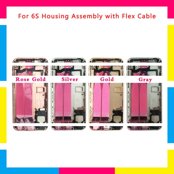 For iphone 6 6G Back Middle Frame Chassis Full Housing Assembly Battery Cover Door Rear with Flex Cable or For 6S Repair