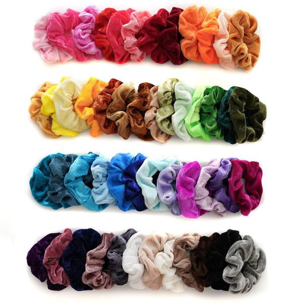 best selling Free DHL 48Colors Solid Girls Velvet Elastic Hair Scrunchie Scrunchy Head Band Ponytail Hairbands Girls Hair Rope Hair Accessories Wholesale