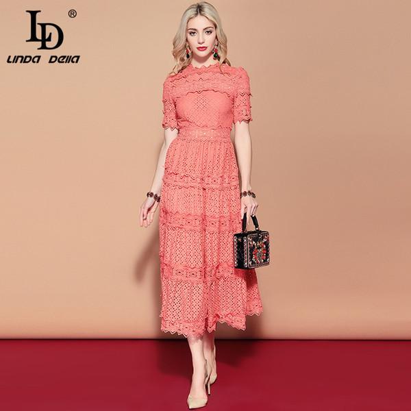 LD LINDA DELLA 2019 New Summer Runway Long Dress Donna manica corta Solid Floral Scava fuori ricamato Mid Calf Dress elegante T5190613