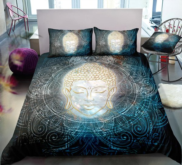 Thumbedding Dropship Buddha Head Light Bedding Sets with Buddha Light Twin Full Queen King Single Double 3D Duvet Cover with Pillowcase