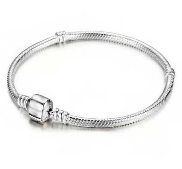 Wholesale Best 925 Sterling Silver Bracelets 3mm Snake Chain Fit Pandora Charm Bead Bangle Bracelet Jewelry Gift For Men Women