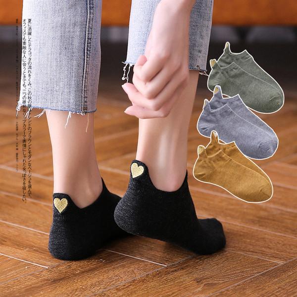 Moda Çorap Kadın 2019 Yeni Bahar 1 Çift Ayak Bileği Çorap Kızlar Pamuk Renk Yenilik Kadın Moda Sevimli Kalp Casual Çorap Lady